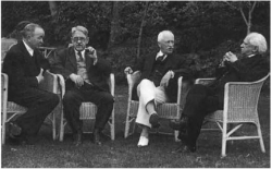 Fig. 82. Four giants of Egyptology meet in the garden of the Continental Hotel, Cairo, November 15, 1935. Left to right: Hermann Junker, George Reisner, James Henry Breasted, and Ludwig Borchardt