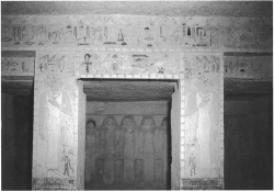 Fig. 89. Painted architrave, pillars, and engaged statues in the Fourth Dynasty rock-cut tomb of Queen Mer-si-ankh III, Eastern Cemetery, looking north