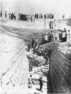 Fig. 94. Gamal Abdel Nasser visiting the pyramid of Sekhemkhet at Saqqara, June 30, 1954