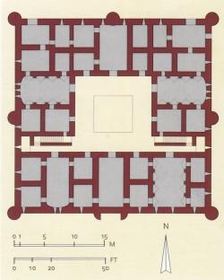 Los Palacios de los Omeyas. Kasr Kharana. Figura 3: distribución ortogonal