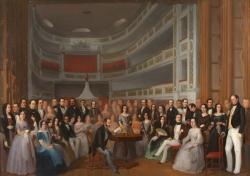 Antonio María Esquível: Ventura de la Vega leyendo una obra a los actores del Teatro del Príncipe, ca. 1846