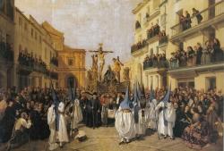 Manuel Cabral Bejarano: Procesión de Viernes Santo en Sevilla. La cofradía de Montserrat al comienzo de la calle Genova, 1862