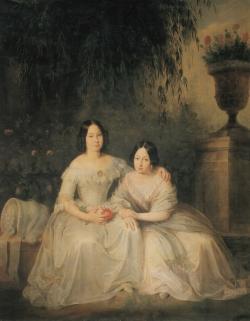 Antonio María Esquivel: Retrato de Isabel II y la infanta Luisa Fernanda, ca. 1845