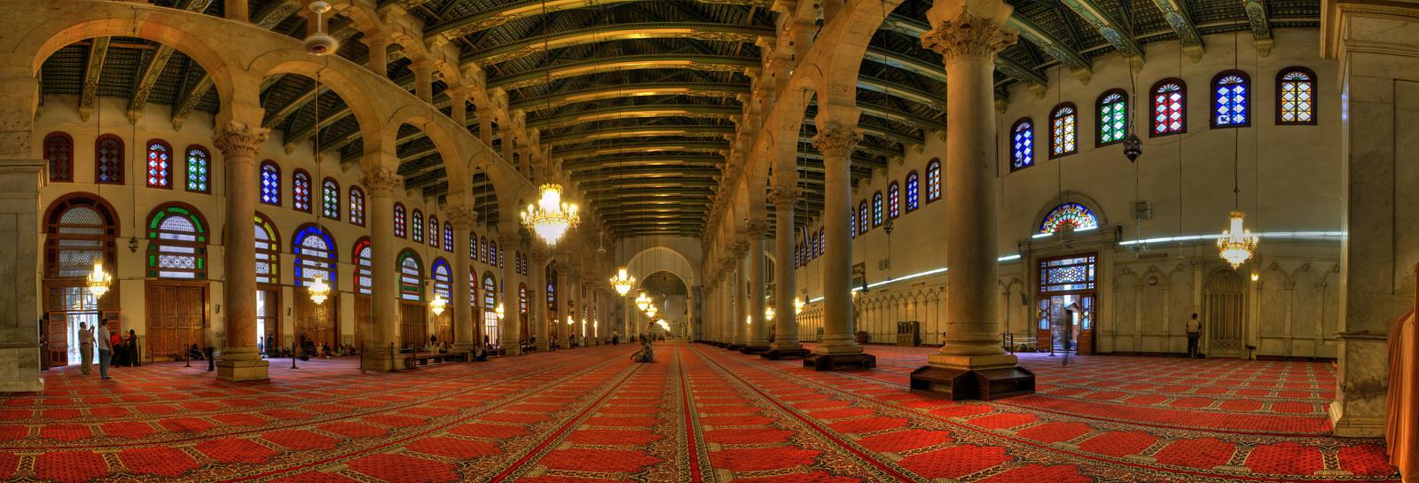 Mezquita de Damasco. Majestuosidad de la sala de oración