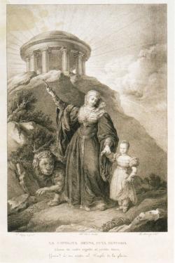 Ramón Amerigó y Morales: La católica reyna, cuya historia llena de noble orgullo al pueblo íbero, guía a su nieta al Templo de la Gloria