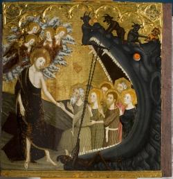Jaume Serra (segunda mitad del siglo XIV). Retablo del Santo Sepulcro, tabla de la Bajada al Limbo (1361). Zaragoza, Museo Provincial de Bellas Artes