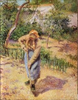 Camille Pissarro (1830-1903): Campesina cavando. Colección particular