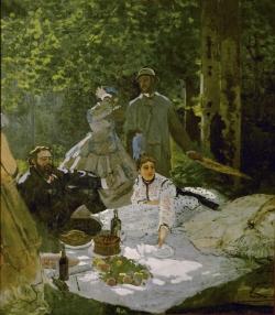 Claude Monet (1840-1926): El almuerzo campestre. Fragmento central del cuadro inicial (1865-1866) París, Musée d'Orsay
