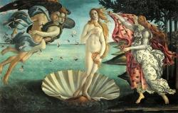 Sandro Botticelli: El nacimiento de Venus (hacia 1485). Florencia, Galería de los Uffizi.