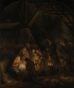 Rembrandt (1606-1669): La Adoración de los pastores (1646). Londres, National Gallery
