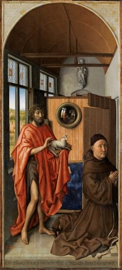 Robert Campin, Maestro de Flémalle (1375-1444): San Juan Bautista y el maestro franciscano Enrique de Werl (1438). Madrid, Museo del Prado