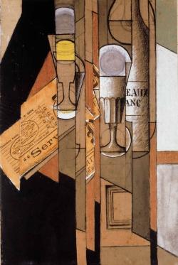 Juan Gris (1887-1927): Vasos, periódico y botella. Colección de Arte de Telefónica
