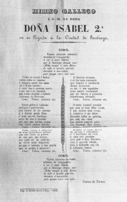 Vicente de Turnes: Himno gallego a S.M. la reina doña Isabel 2.a en su llegada a la ciudad de Santiago, 1858. Seda, 40 x 29,8 cm. Patrimonio Nacional. Madrid, Real Biblioteca (XIX/8611, 7)