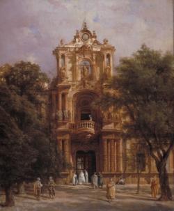 Adrián Dauzats: «Palacio de San Telmo. Fachada principal», ca. 1833-1837. Óleo sobre lienzo, 65 x 54 cm. Burdeos, Musée des Beaux-Arts