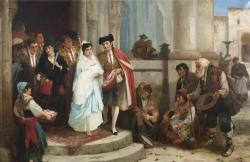 Robert Kemm: «El bautizo», ca. 1870. Óleo sobre lienzo, 94 x 137,5 cm. Madrid, Museo Romántico (Inv. 7120)