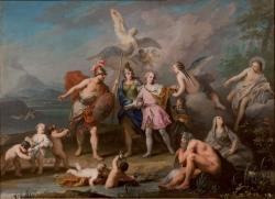 Jacopo Amigoni. El infante Don Carlos parte para Italia