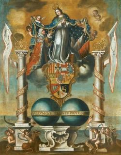 Anónimo. La Inmaculada Concepción como patrona de todos los territorios de la Monarquía. S/a. (Segunda mitad del siglo XVIII). Óleo sobre lienzo. Fundación Marqués de Castrillón (Navia, Asturias).