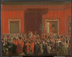 Michele Foschini. Don Carlos de Borbón renuncia a la Corona de Nápoles. Ca. 1759. Óleo sobre lienzo. Capitanía General de Palma de Mallorca. Depósito del Museo Nacional del Prado (Madrid).