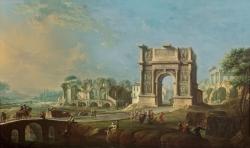 Antonio Joli Visita de la reina María Amalia de Sajonia al Arco de Trajano en Benevento