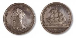 Gerónimo Antonio Gil. Medalla del Premio de la Sociedad de Manila al comercio. 1782. Plata. Museo Arqueológico Nacional (Madrid).