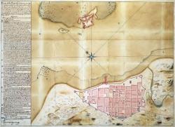 Plano de la ciudad de Veracruz, en el Virreinato de la Nueva España, con su castillo de San Juan de Ulúa (Veracuz, México, 20 de abril de 1763). Ministerio de Educación, Cultura y Deporte, Archivo General de Indias (Sevilla).