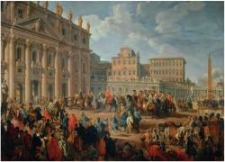 Giovanni Pado Panini. Don Carlos de Borbón visita la Basílica de San Pedro. S/a. (Primera mitad del siglo XVIII). Óleo sobre lienzo. Museo de Capodimonte (Nápoles)