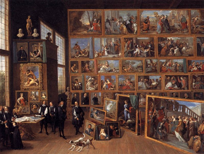 David Teniers the Younger. Archduke Leopold Wilhelm in His Gallery at Brussels, ca. 1651. Oil on canvas, 48 7/16 x 64 3/16 inches. Gemäldegalerie, Kunsthistorisches Museum, Vienna
