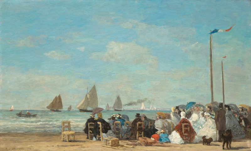 Eugène Boudin (French, 1824 - 1898), Beach Scene at Trouville, 1863, oil on wood, Collection of Mr. and Mrs. Paul Mellon 1983.1.14. National Gallery of Art, Washington