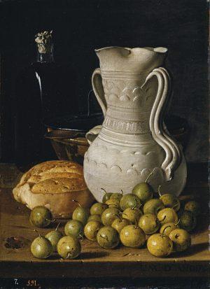 Luis Meléndez. Bodegón con peritas, pan, alcarraza, cuenco y frasca 1760