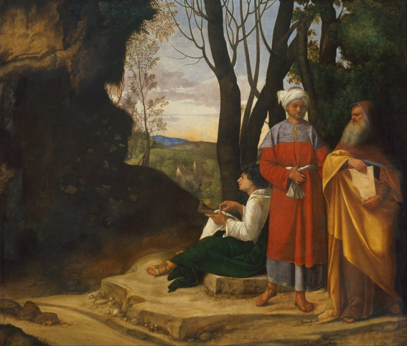 Giorgione el oscuro. Los tres filósofos. c. 1508/09. Canvas. H 123.5 cm, W 144.5 cm. (Vienna, Kunsthistorisches Museum)