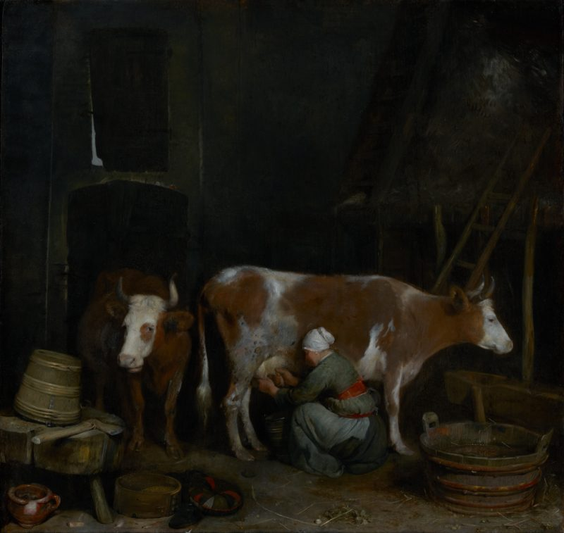 Gerard ter Borch, A Maid Milking a Cow in a Barn, c. 1653/1654. Oil on panel, 18 11/16 x 19 3/4 in. The J. Paul Getty Museum, Los Angeles