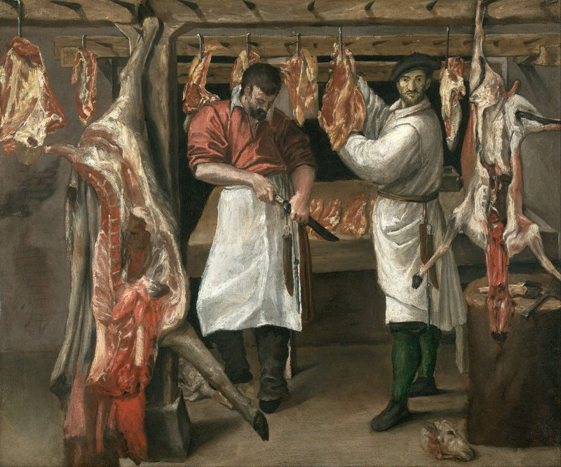 The Butcher's Shop. Early 1580s. Oil on canvas, 59.7 x 71.0 cm Kimbell Art Museum