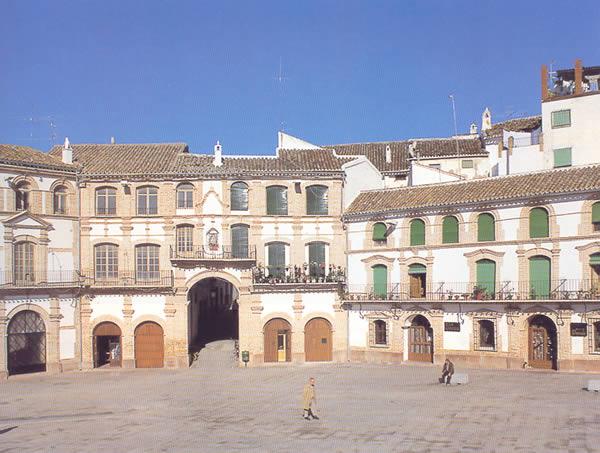 Cada uno de los edificios que forman los ocho lados de esta plaza responde a un esquema arquitectónico distinto, aunque todos ellos tienen tres alturas y presentan encalados sus muros.