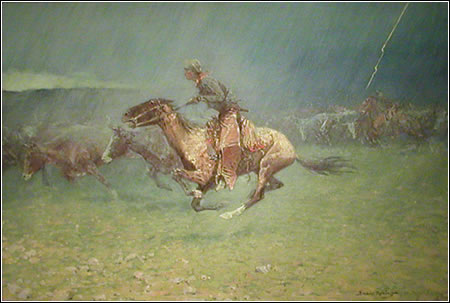 Frederic Remington. The Stampede by Lightning, 1908, Gilcrease Museum, Tulsa, Oklahoma