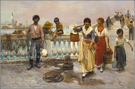 Frank Duveneck (1848-1919): Water Carriers, Venice, 1884