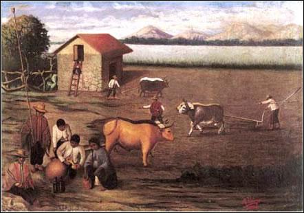 Mario Urteaga. La siembra, 1934. Óleo sobre tela: 44 x 62 cm. Colección particular, Lima