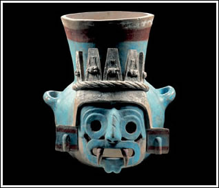 Tlaloc pot. Aztec, ca. 1440–69. Fired clay, 35 x 35 x 31.5 cm. Museo del Templo Mayor, INAH, Mexico City. Photo Michel Zabé, assistant Enrique Macías.