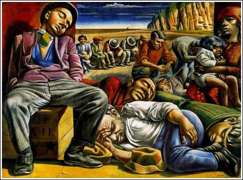 Desocupados, 1934. Témpera sobre arpillera. 218 x 300 cm. Colección privada. Buenos Aires. Argentina.