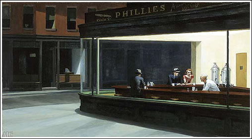 Nighthawks, 1942. Oil on canvas, 84.1 x 152.4 cm. Friends of American Art Collection, 1942.51
