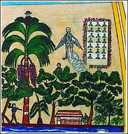 """Detalle del dibujo de la cosmovisión, por M. Caritimari. Por los aires vaga el alma de un mocibundo. En la casa un Chamán prepara su ayahuasca. Los """"dueños"""" de los árboles tienen sombrero y camisa roja y están en las copas, protegiéndolos."""