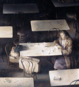 Mujer mirando una fotografía (detalle), 1982. Óleo sobre lienzo, 110 x 124 cm. Colección del artista, Madrid