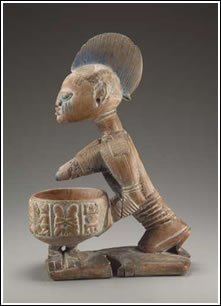 Figure with bowl. Yoruba peoples, Ekiti region, Nigeria