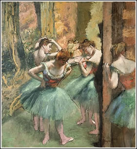 Edgar Degas: Dancers, Pink and Green, ca. 1890