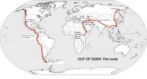 Out Of Eden Walk. Mapa ruta
