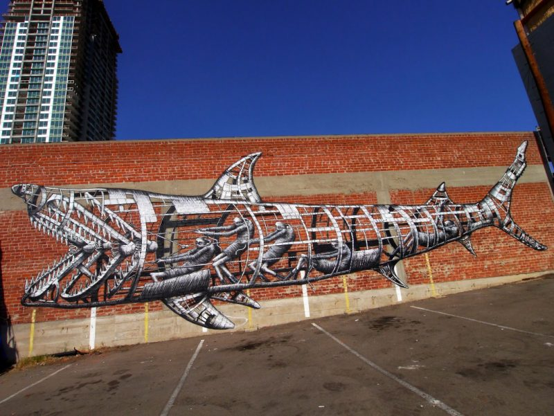 Phlegm x PangeaSeed's Sea Walls: Murals for Oceans festival in San Diego, California. Helping to save our seas via art and activism. 100 million sharks are killed each year for their fins