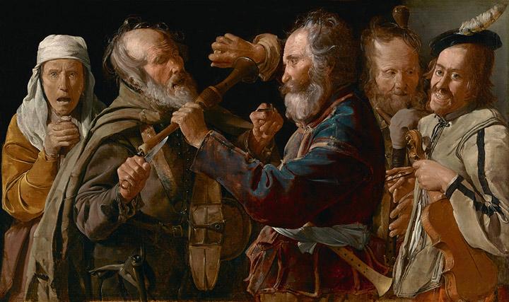 Riña de músicos. Georges de La Tour. Óleo sobre lienzo, 85,7 x 141 cm. Los Ángeles, The J. Paul Getty Museum, 72.PA.28.
