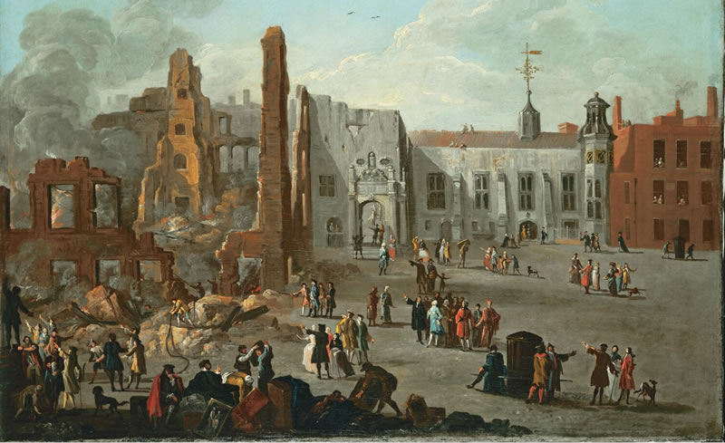 Richard Wilson: The Hall of the Inner Temple after the Fire of 4 January 1736/7