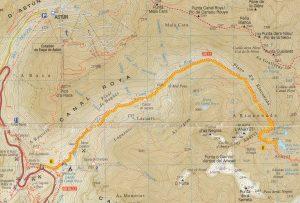 Por Canal Roya hasta el Ibón de Anayet. Mapa ruta