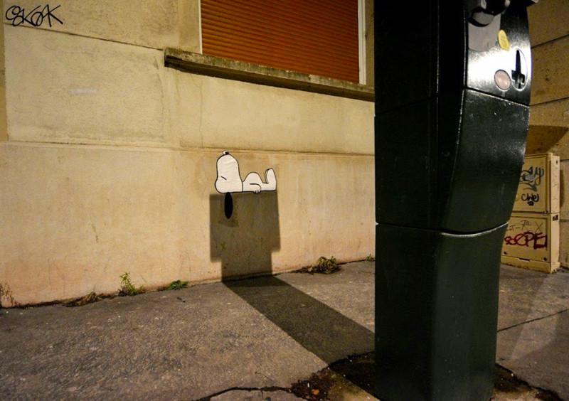 Snoopy en las calles de Saint-Etienne