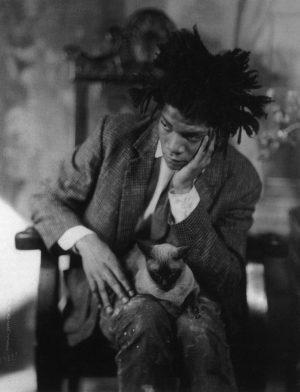 Jean-Michel Basquiat and Cat/ James van der Zee / 1982